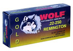 Wolf Gold Centerfire Ammunition G22250SP1, 22-250 Remington, Jacketed Soft Point, 55 GR, 3675 fps, 20 Rd/bx