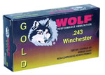 Wolf Gold Centerfire Ammunition G243SP1, 243 Winchester, Jacketed Soft Point, 100 GR, 2969 fps, 20 Rd/bx