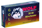 Wolf Gold Centerfire Ammunition G3030SP1, 30-30 Winchester, Jacketed Soft Point, 150 GR, 2379 fps, 20 Rd/bx