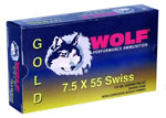 Wolf Gold Centerfire Ammunition G75SP1, 7.5 MM X 55 MM Swiss, Spire Point, 174 GR, 2526 fps, 20 Rd/bx