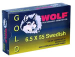 Wolf Gold Centerfire Ammunition G65SFMJ1, 6.5 MM X 55 MM Swede, Full Metal Jacket, 139 GR, 2542 fps, 20 Rd/bx