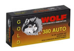 Wolf Gold Centerfire Ammunition G380HP1, 380 ACP, Jacketed Hollow Point, 94 GR, 952 fps, 50 Rd/bx