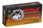 Wolf Gold Centerfire Ammunition G919HP1, 9 MM, Jacketed Hollow Point, 147 GR, 985 fps, 50 Rd/bx