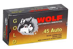 Wolf Gold Centerfire Ammunition G45HP1, 45 ACP, Semi-Jacketed Hollow Point, 185 GR, 935 fps, 50 Rd/bx