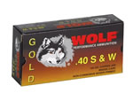 Wolf Gold Centerfire Ammunition G40HP1, 40 S&W, Jacketed Hollow Point, 180 GR, 935 fps, 50 Rd/bx