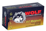 Wolf Gold Centerfire Ammunition G357HP1, 357 Remington Mag, Semi-Jacketed Hollow Point, 158 GR, 1607 fps, 50 Rd/bx