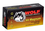 Wolf Gold Centerfire Ammunition G44HP1, 44 Remington Mag, Jacketed Hollow Point, 240 GR, 1542 fps, 50 Rd/bx