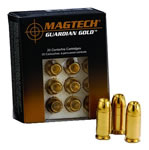 Magtech Guardian Gold Cartridges GG45A, 45 ACP + P, Jacketed Hollow Point, 185 GR, 1148 fps, 20 Rd/bx