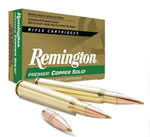 Remington Premier Copper Solid Centerfire Ammunition PCS308WA, 308 Winchester, Copper Solid Tipped, 150 GR, 2820 fps, 20 Rd/bx