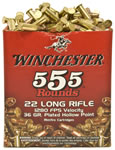 Winchester Rimfire Ammunition 22LR555HP, 22 Long Rifle, Copper Plated HP, 36 GR, 1280 fps, 555 Rds