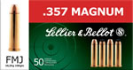 Sellier & Bellot Ammunition V311102U, 357 Remington Magnum (Mag), Full Metal Jacket, 158 GR, 1400 fps, 50 Rd/bx