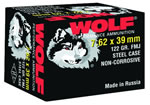 Wolf Ammo 762BFMJ, 7.62 X 39 MM, Full Metal Jacket, 122 GR, Bimetal, 2396 fps, 1000 Rds/box