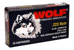 Wolf Ammo 22355HP,  (50 box), 223 Remington, Hollow Point, 55 GR, 3241 fps, 1000 rd. Case