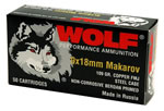 Wolf Handgun Ammunition 918FMJ 9 MM X 18 MM Makarov, Full Metal Jacket, 100 GR, 1017 fps, 1000/bx