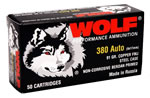 Wolf Handgun Ammunition 917FMJ, 380 ACP, Full Metal Jacket, 91 GR, 1010 fps, 1000/bx