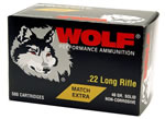 Wolf Match Extra Rimfire Ammunition 22XTRA, 22 Long Rifle, Round Nose, 40 GR, 1050 fps, 5000 Rds