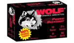 Wolf Power Buckshot 12OOB, 12 Gauge, 2 3/4 in, 9 Pellets, 1325 fps, #00 Lead Buckshot, 5 Rd/bx, 50 Bx/Case
