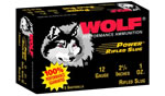 Wolf Lead Slug 12SLUG, 12 Gauge, 2 3/4 in, 1 oz, 1400 fps, 5 Rd/bx, 50 Bx/Case