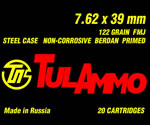 Tulammo Ammunition UL076201, 7.62 X 39mm, Full Metal Jacket, 122 GR, 20 Rd/bx