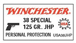 Winchester USA Centerfire Pistol Ammunition USA38JHP, 38 Special +P, Jacketed Hollow Point, 125 GR, 945 fps, 50 Rd/bx