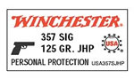 Winchester USA Centerfire Pistol Ammunition USA357SJHP, 357 SIG, Jacketed Hollow Point, 125 GR, 1350 fps, 50 Rd/bx