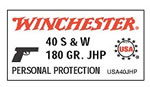 Winchester USA Centerfire Pistol Ammunition USA40JHP, 40 S&W, Jacketed Hollow Point, 180 GR, 1010 fps, 50 Rd/bx