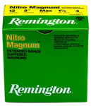 Remington Nitro Magnum NM124, 12 Gauge, 3 in, 1 5/8 oz, 1280 fps, #4 Lead Shot, 25 Rd/bx, Case of 10 Boxes