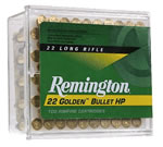 Remington Rimfire Ammunition 1600, 22 Long Rifle, Plated Hollow Point, 36 GR, 1280 fps, 100 Rd/bx