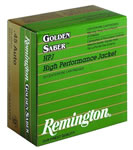 Remington Golden Saber HPJ Pistol Ammunition GS9MMB, 9 MM, BJHP, 125 GR, 1125 fps, 25 Rd/bx
