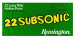 Remington Rimfire Ammunition SUB22HP, 22 Long Rifle, Hollow Point, 38 GR, 1050 fps, 50 Rd/bx