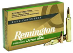 Remington Premier Ultra Mag Rifle Ammunition PR338UM2, 338 Remington Ultra Mag, Pointed Soft Point, 250 GR, 2860 fps, 20 Rd/bx