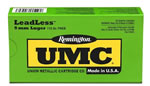 Remington UMC Leadless Handgun Ammunition LL9MM11, 9 MM, Flat Nose Enclosed Base, 115 GR, 1135 fps, 50 Rd/bx
