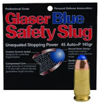 Glaser Blue Safety Slugs 04600, 45 ACP + P, Round Nose, 145 GR, 1350 fps, 6 PK