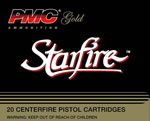 PMC Gold Line Premium Pistol/Revolver Ammunition 9SFB, 9 MM, StarFire Hollow Point, 124 GR, 1090 fps, 20 Rd/bx