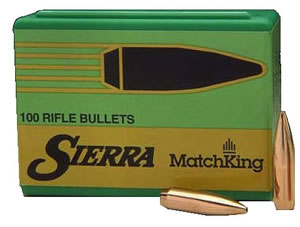 Sierra 2156 30 Cal 155 Grain MatchKing Hollow Point Boat Tail Palma Bullets 100/Box, (Not Loaded)