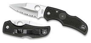 Spyderco Native Spear Point Blade Folding Knife w/Partially Serrated Edge C41PSBK