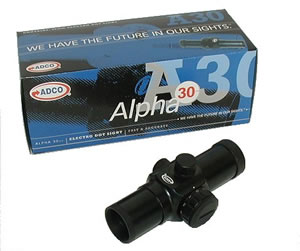 Adco A30B Alpha Dot Sight - 30MM, Black