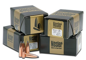 Nosler Bullets 44811, Spitzer, .358 Caliber, 250 gr, 25 Per Box (Not Loaded)