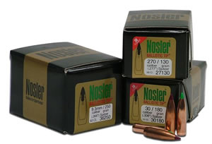 Nosler 30180 Spitzer Hunting Ballistic Tip 30 Cal 180 Grain 50/Box, (Not Loaded)