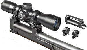 Barska Contour SKS Compact Rifle Scope w/Base AC10882, 4x, 32mm Obj, 1 in Tube Dia, Matte, 30/30 Reticle