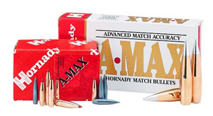 Hornady 30312 30 Caliber Rifle Bullet 155 Grain A-Max 100/Box, (Not Loaded)