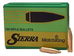 Sierra 2210 MatchKing Boat Tail Hollow Point 30 Cal 190 Grain 100/Box, (Not Loaded)