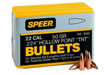 Speer 1030 22 Cal 50 Grain TNT Hollow Point 100/Box, (Not Loaded)