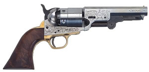 Traditions 1851 Colt Revolver FR1851255, 44 Black Powder, Walnut Grips, Silver Frame/Barrel, Single Action