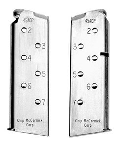 Chip McCormick 14120 7 Round 45 ACP Officers Model Magazine w/ Stainless Finish