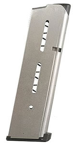 Wilson 47DC 8 Round Stainless Magazine w/ Low Profile Butt Pad For 1911 45 ACP