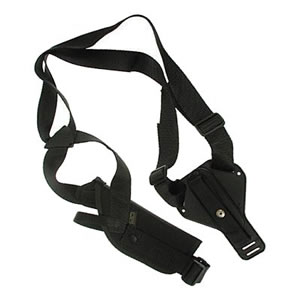 Uncle Mikes Vertical Shoulder Holster w/Harness & Speedloader Case 85041 For 7-8 1/2 in BBL MD/LG. Dbl Action Rev