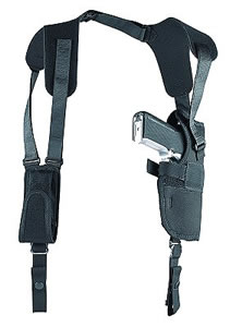 Uncle Mikes Sidekick Vertical Shoulder Holster w/Harness & Speedloader Case, Model 83011, For 3-4 in Barrel Med Autos & 3 1/4 in -3 3/4 in