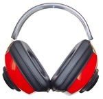 Radians CP0300CS Competitor Muff w/Adjustable Headband & Earcups & Soft Foam Ear Cushions, NRR 26 dB, Red/Black