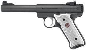 Ruger Mark III Model MKIII512 Rimfire Pistol 10101, 22 Long Rifle, 5 1/2 in BBL, Sngl Actn Only, Blk Syn Grips, Adj Sights, Blue Steel Finish, 10 + 1 Rds